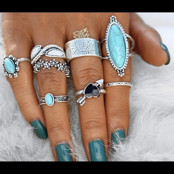 Jewelry - A lot of turquoise / silver rings costume jewelry